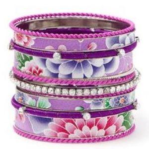 CARA COUTURE Purple Flower 13 Piece Bangle Set